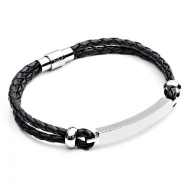 Black Leather & Steel ID Bracelet