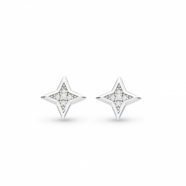Contemporary Silver earrings with Cubic zircona