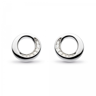 Conttemporary  silver earrings with cubic zircona