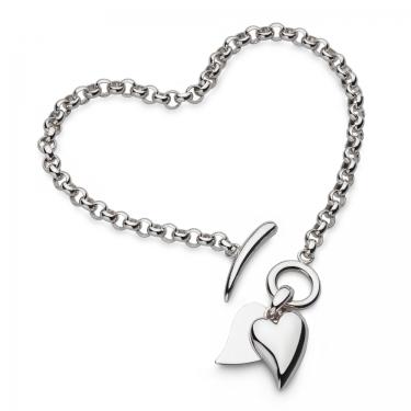 Contemporary silver heart bracelet