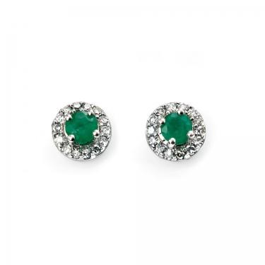 Emerald & Diamond gold earrings