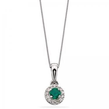 Emerald & Diamond 9ct gold necklace