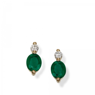 Emerald & Diamond 9ct gold errings