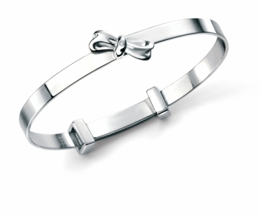 Sterling silver and real diamond baby bangle