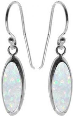 Silver white opalique earrings