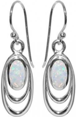 Sterling Silver White Opalique Earrings