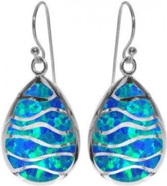 Sterling Silver Blue Opalique Earrings