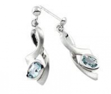 contemporary silver and blue topaz earrings