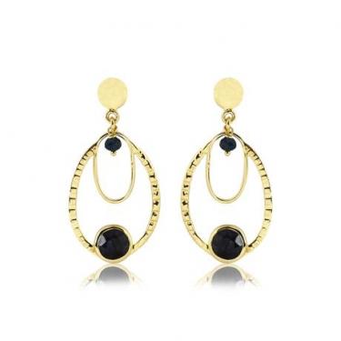 Gold Plated Sapphire Quartz Earrings