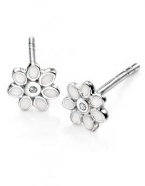 silver & white enamel flower studs