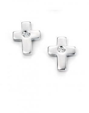 silver & diamond cross studs