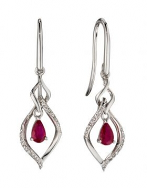 Ruby and white gold earrings