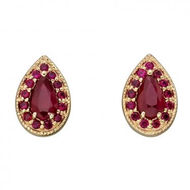 9ct Gold Ruby Earrings
