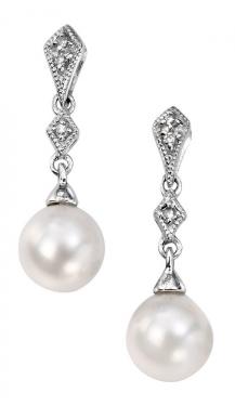 9ct white gold & freshwater pearl earrings