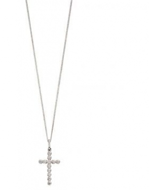 9ct white gold cross necklace