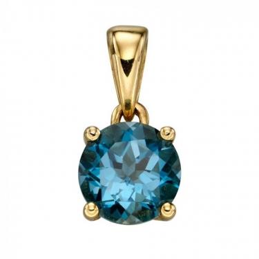 9ct Gold & Blue Topaz Pendant