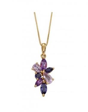 9ct Gold Amethyst & Iolite necklace