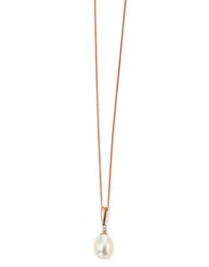 9ct rose gold & freshwater pearl necklace