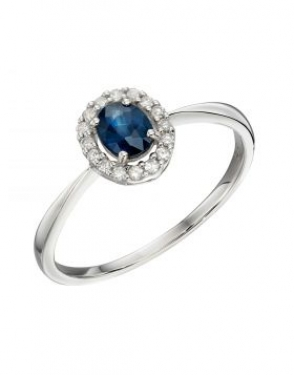 9ct White Gold Sapphire Ring