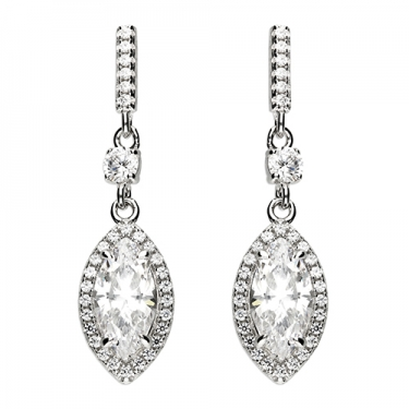 silver cubic zirconia marquise earrings