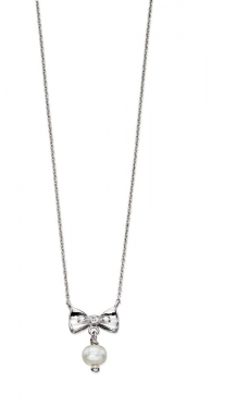 Silver, diamond & pearl bow necklace