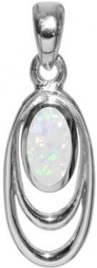 sterling silver white opalique pendant
