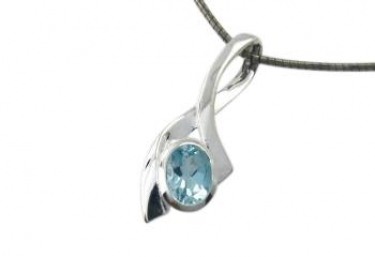 Contemporary silver blue topaz necklace