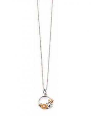 Silver & diamond flower necklace