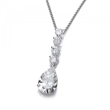 silver quattro teardrop cubic zirconia necklace