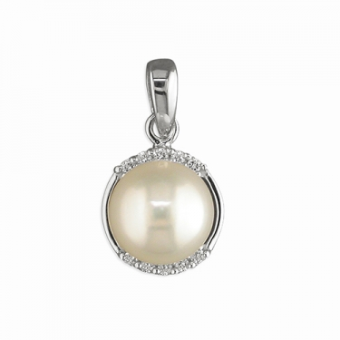 Silver freshwater pearl & cz necklace