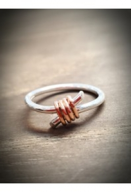 9ct rose gold and silver ring