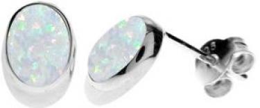 Sterling Silver White Opalique Stud Earrings
