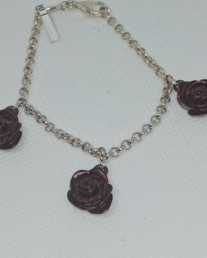 Silver and enamel rose bracelet