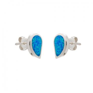Silver Opalique Stud Earrings